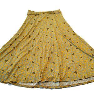 LuLaRoe Maxi Skirt XL Yellow Gray Triangles long